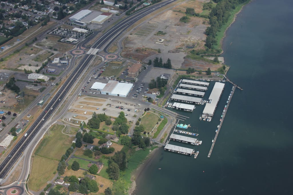 PSU Washougal A waterfront redevelopment project led by the Port of Camas-Washougal is about 1.7 miles away from Washougal's downtown.