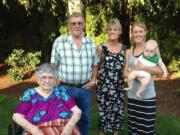 Great-great-grandmother Mildred Becker, 91, of Vancouver, left, is shown in a five-generation photo taken recently.