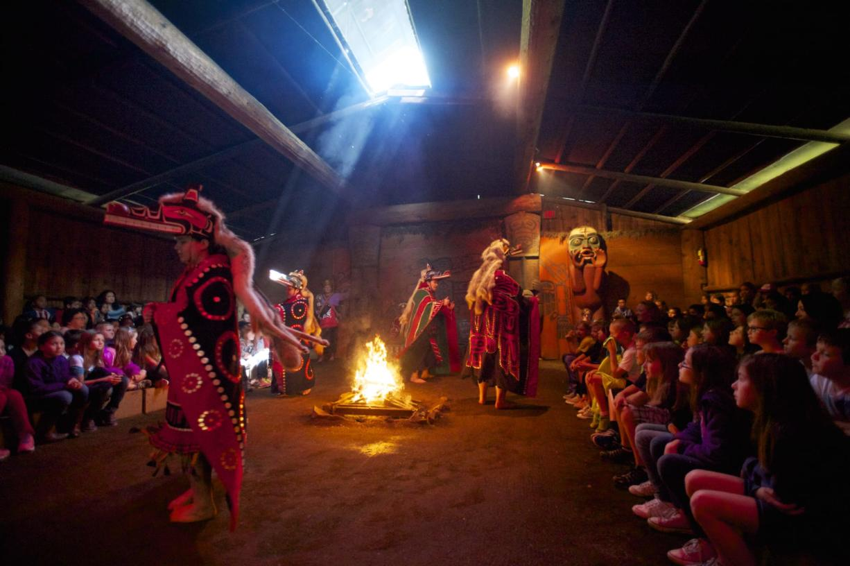 Students were entertained with stories, music and masked dancers during the one-hour program.