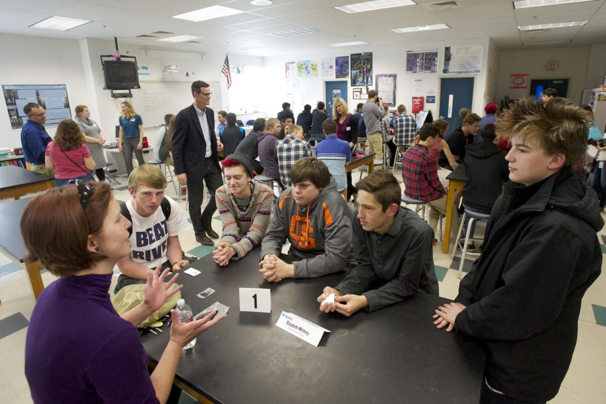 WSUV biology graduate student Elizabeth Whitney speaks to a group of students Friday during a speed networking event at Skyview High School on Friday.