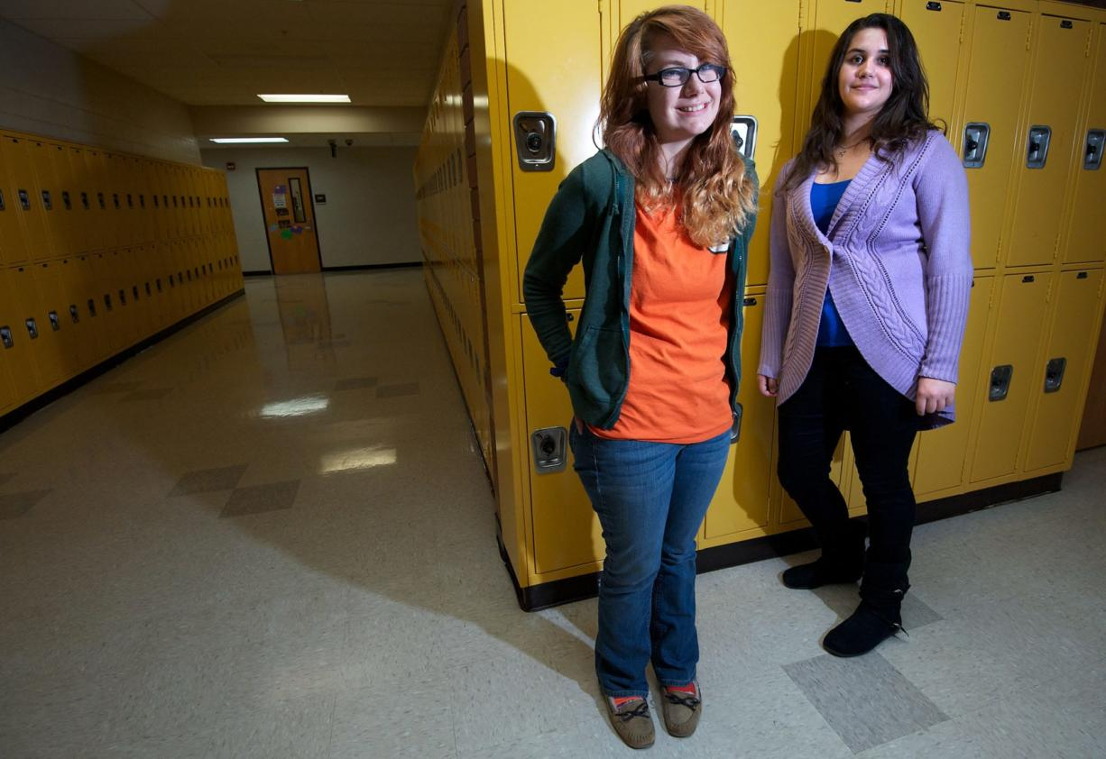 Evergreen High School students Hannah Enz, left, and Jessica Letzgus will be studying abroad in Germany next school year.