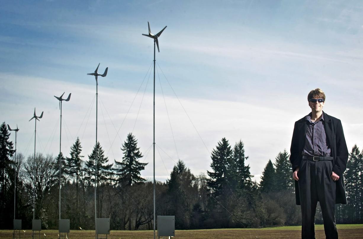 Stephen Solovitz, a mechanical engineering instructor at Washington State University Vancouver, manages a small-scale wind farm recently installed on campus.
