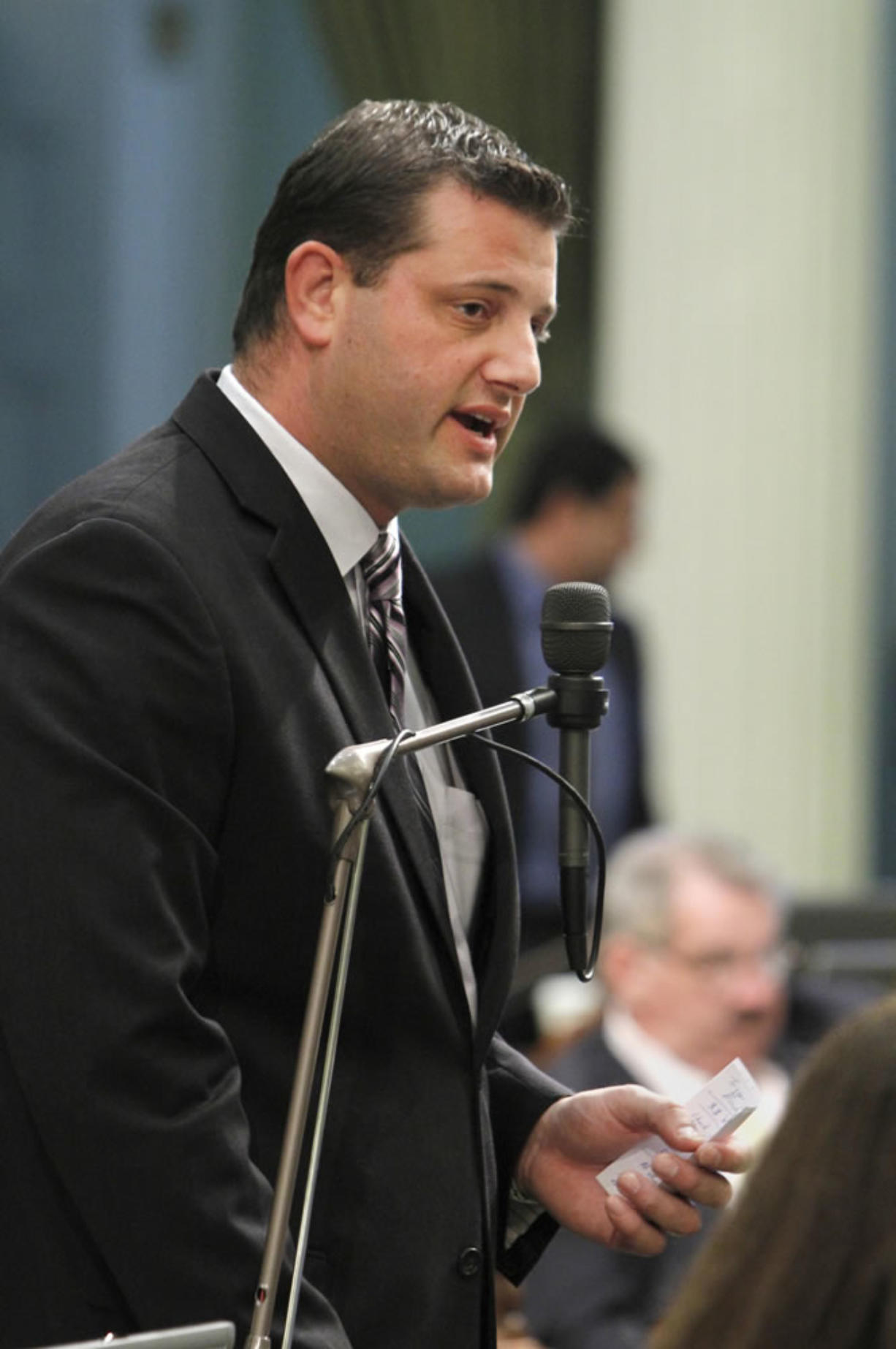 FILE -- In this July 5, 2012 file photo, is former Assemblyman and current Republican Rep. David Valadao,  of Hanford, at the Capitol in Sacramento, Calif., Thursday, July 5, 2012.   Valadao  whose district is in California's agricultural heartland of the San Joaquin Valley, said he is not worried that Congress' failure to pass immigration legislation will hurt his reelection.(AP Photo/Rich Pedroncelli,file)