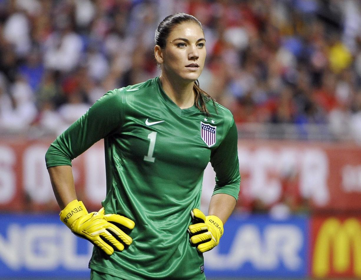 United States goalkeeper Hope Solo pauses on the field during the second half of an international friendly womenu2019s soccer match against Australia in San Antonio.