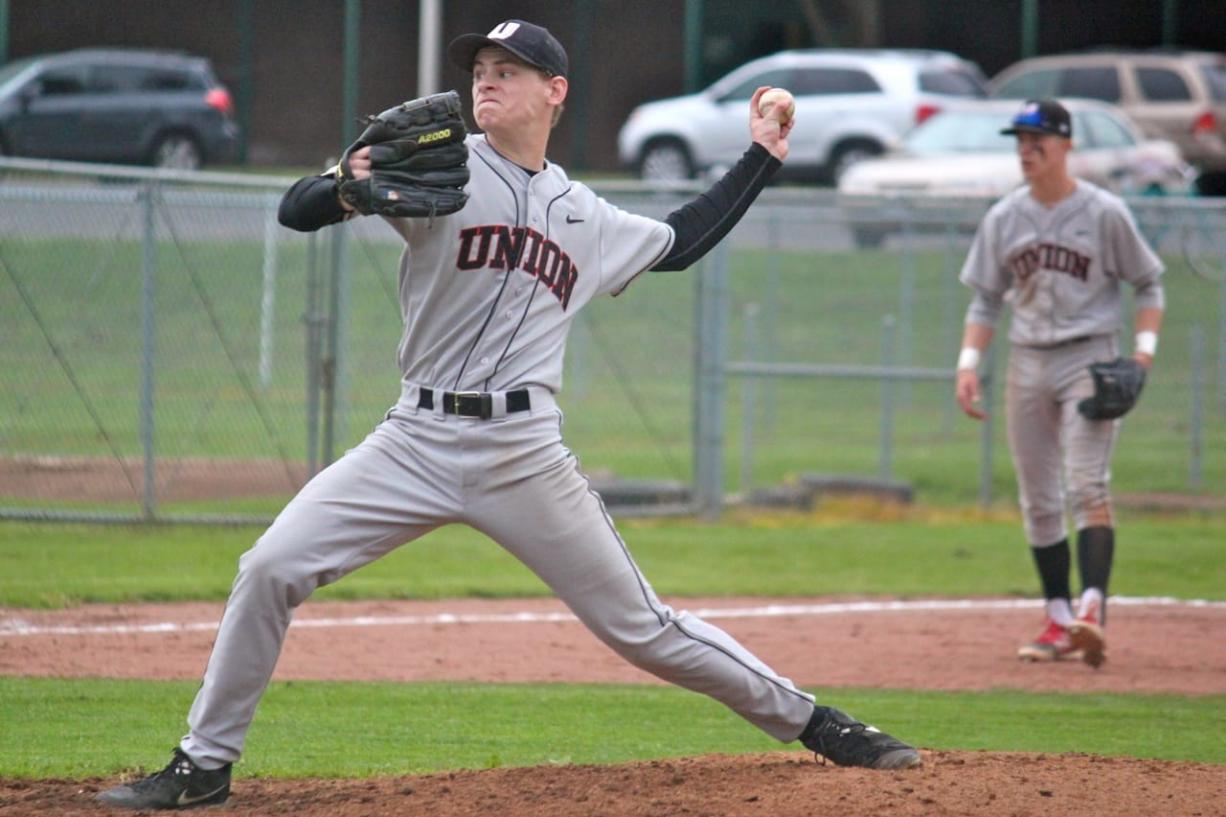 Union pitcher Matt Olstead threw a two-hit shutout Monday in a 9-0 win over Battle Ground. He had 10 strikeouts.