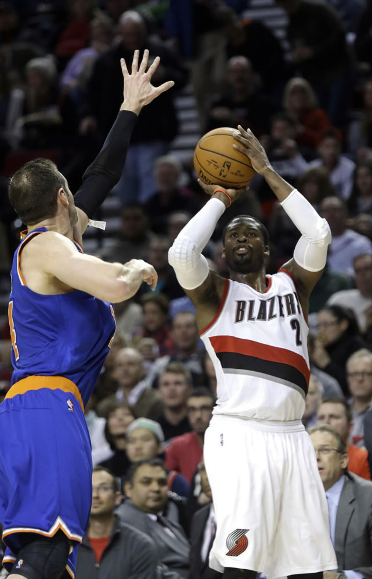 Portland Trail Blazers guard Wesley Matthews, right, leads the NBA in made 3-pointers. He will compete in the 3-point contest at the NBA's All-Star weekend Feb.