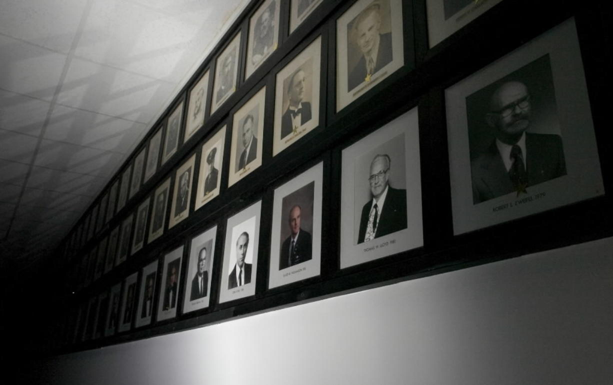 Portraits of past Masters of the Masons hang inside Vancouver's main Masonic lodge in 2008.