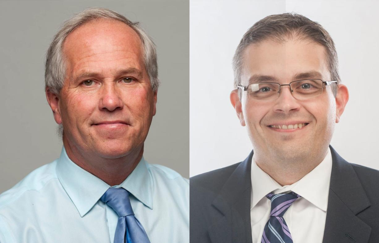 Marc Boldt (left), no party preference, and Mike Dalesandro, Democrat, are running for Clark County council chair.