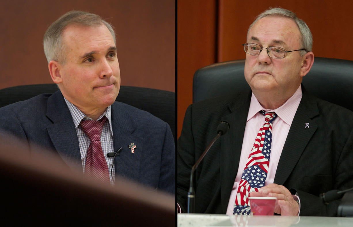 County Commissioners David Madore, left, and Tom Mielke.