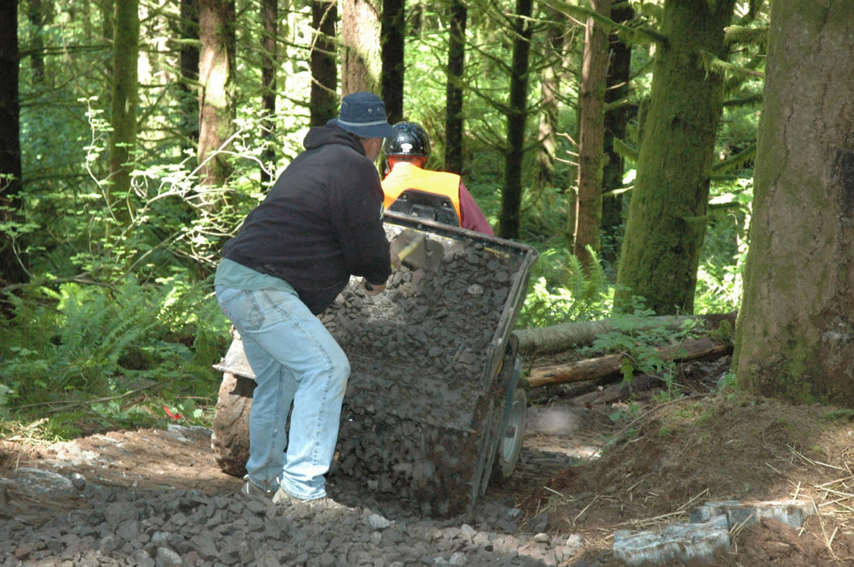 Steve Corrie rakes rock out of a haul vehicle and on to concrete blocks to reinforce a wet spot on a new segment of the B Loop at Jones Creek trail system in the Yacolt Burn State Forest.