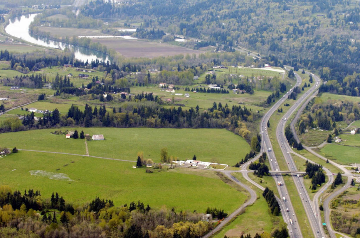 An aerial view of the future site of the Cowlitz casino west of La Center.