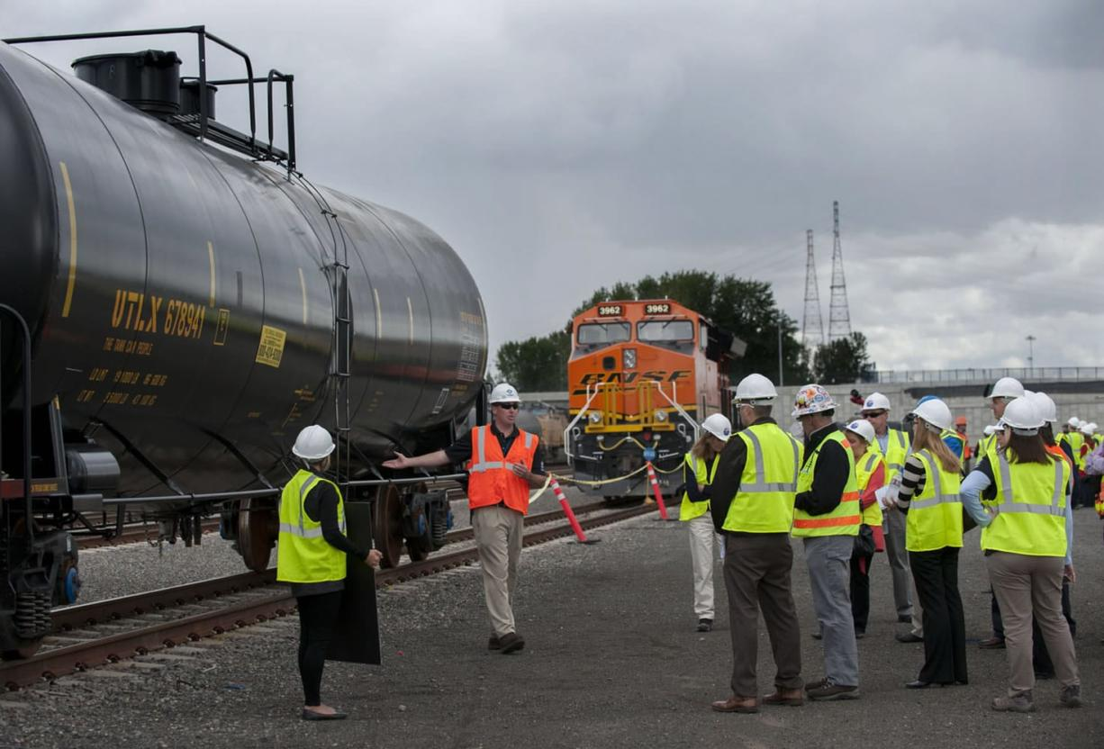 During a media event at the Port of Vancouver last month, Tesoro Corp. and Savage Cos. unveiled oil tank cars that are part of 210 enhanced rail cars that exceed standards set by the U.S. Department of Transportation.