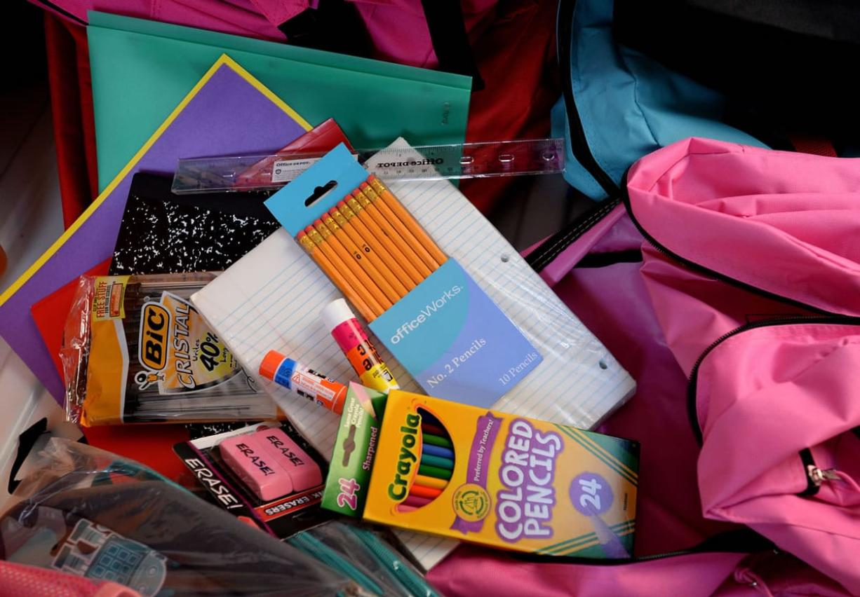 School supplies to be distributed to low-income students at family-community resource centers were collected in August.
