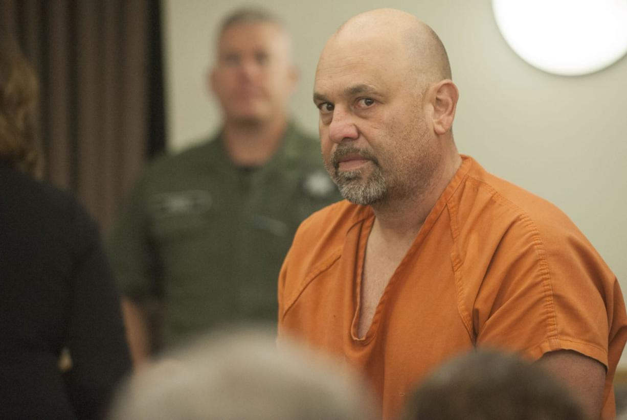 Michael A. Conley, 49, makes a first appearance Monday in Clark County Superior Court in connection with a stabbing Thursday night. A man was dropped off at a hospital with life-threatening stab wounds. (Natalie Behring/The Columbian)