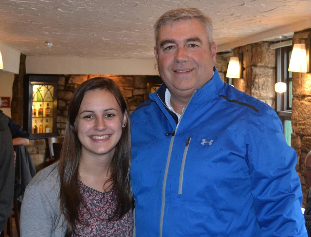 Scholarship recipient Megan Waugh, left, meets with Bob Knight, president of Clark College, in Scotland.