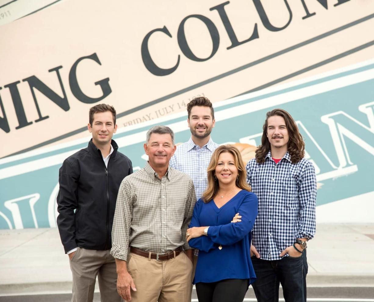 The Columbian, now 125 years old, has been owned by the Campbell family since Herbert Campbell purchased the newspaper in 1921. Scott Campell, Herbert's grandson, has been The Columbian's publisher since 1987. He is pictured here with wife Jody, and sons Ben, Will and Ross Campbell.