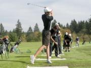 Union golfer Ben Gruher swings a golf club at Camas Meadows Golf Course Thursday October 8, 2015.
