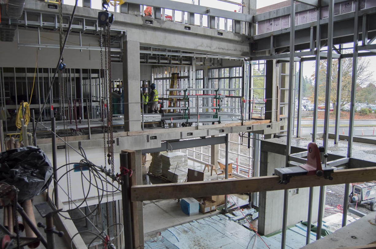 The open atrium of Clark College's new STEM Building will be glass-paneled, like much of the rest of the $39 million building set to open to students in fall 2016. (Brooks Johnson/The Columbian)