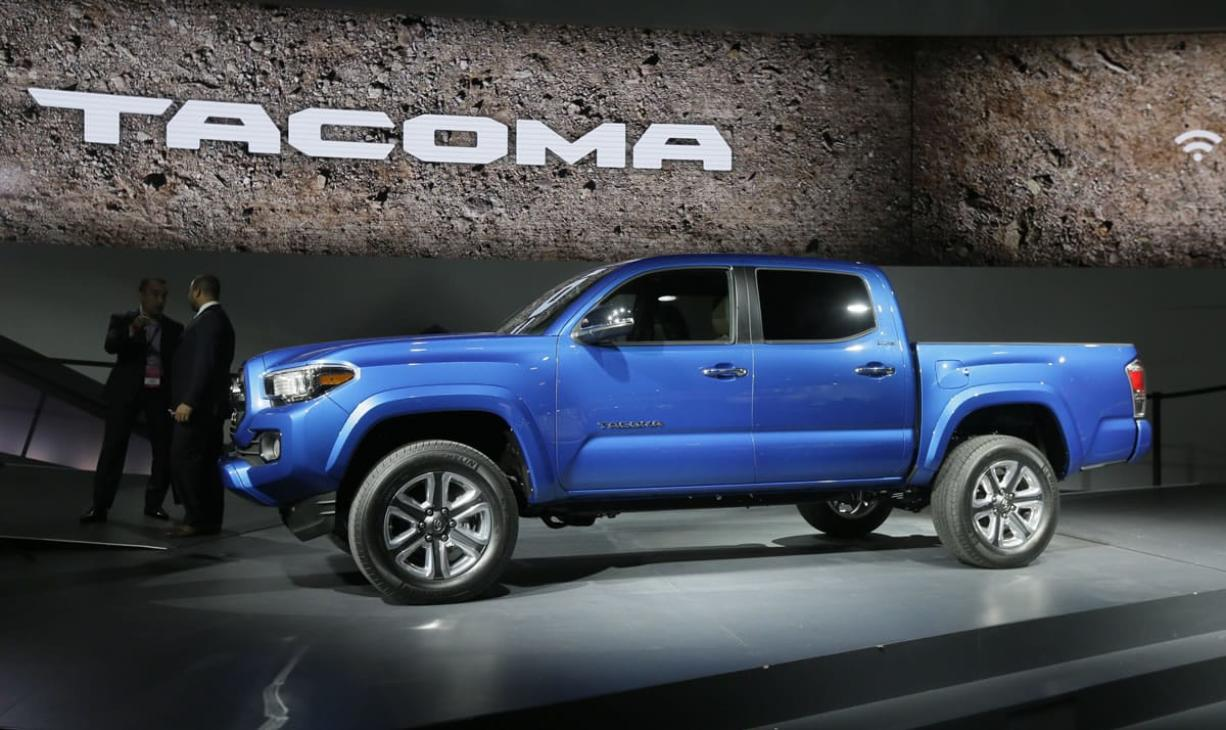 The new Toyota Tacoma truck is unveiled during the North American International Auto Show on Monday in Detroit.