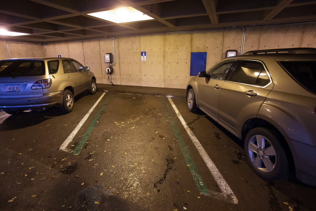 This Electric Vehicle Charging Station In A Parking Garage Unused Dec 10 Is