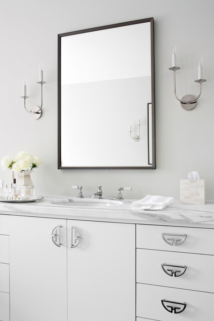 Silver fixtures and soft shades of gray