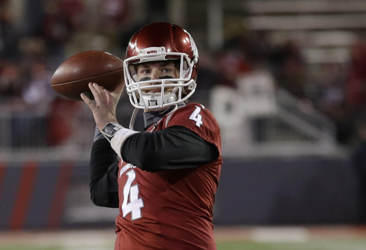 Washington State quarterback Luke Falk leads the Pacific-12 in passing yards and has surprising Washington State (4-2, 2-1) on track for a possible bowl game.(AP Photo/Ted S.