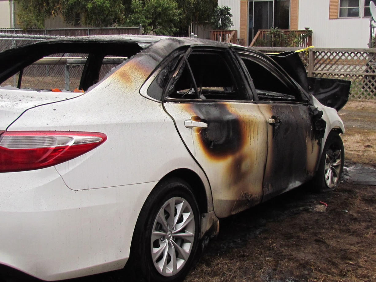 Vancouver police officers investigating a series of smash-and-grab burglaries early Saturday found this car on fire at the 11200 block of Northeast Burton Road.