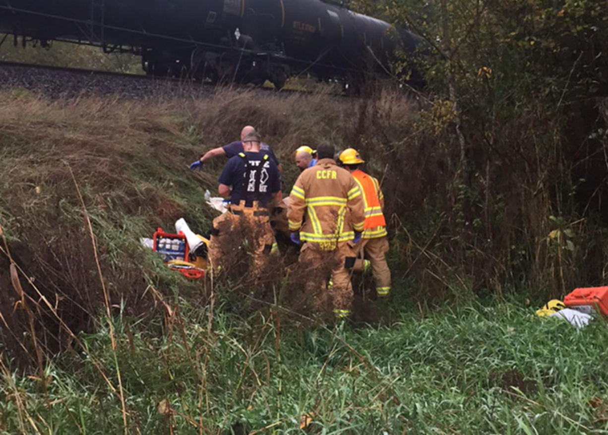 Emergency personnel responded to the BNSF train tracks north of Felida to find a man who had been hit by the train in critical condition.