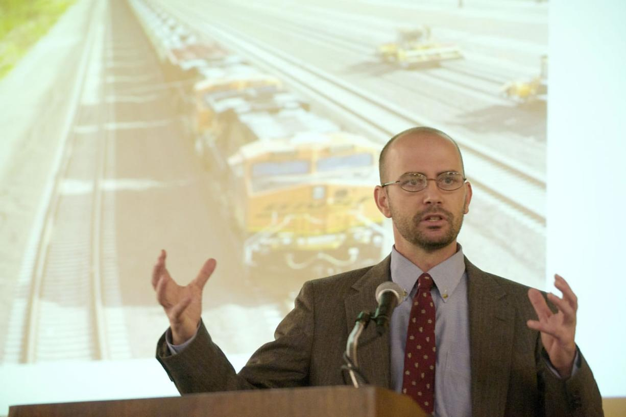 Daniel Serres, conservation director at Columbia Riverkeepers, speaks at a Rotary Club luncheon in 2013 in Vancouver.