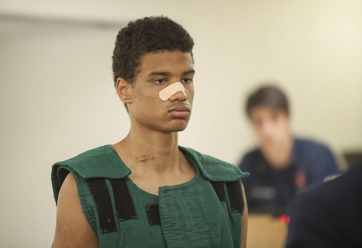 Tremaine S. Rambo, shown in court on April 20, was acquitted Thursday of second-degree attempted rape by reason of insanity. Rambo attacked a 26-year-old woman on the Burnt Bridge Creek Trail in April, according to court documents.