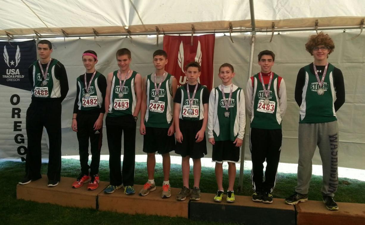 Evergreen Storm Track Club medalists at the USA Track and Field Junior Olympics Cross Country Championships.