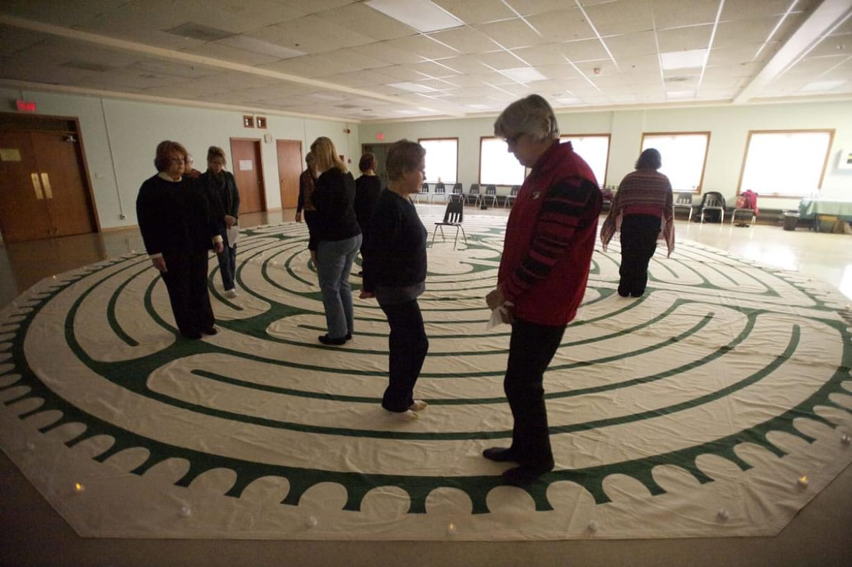 Some Clark County residents began 2014 with a New Year's Day labyrinth walk Wednesday at Vancouver's First Presbyterian Church.