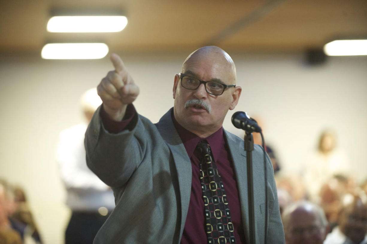 Chris Clifford makes an impassioned appeal to politicians at an Oct. 7 Senate transportation forum in Vancouver.