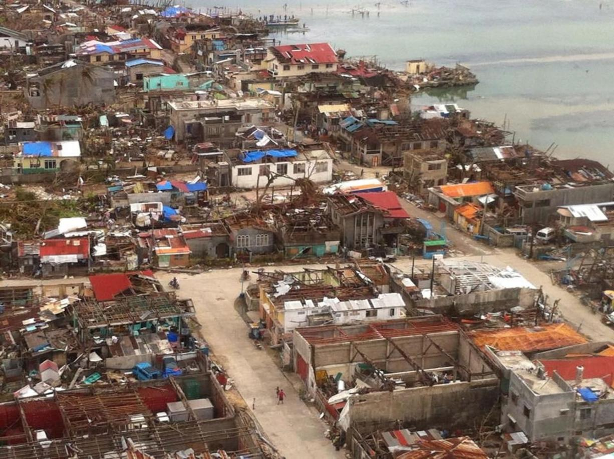 A neighborhood in the Philippines province of Samar lies devastated after super-typhoon Haiyan.