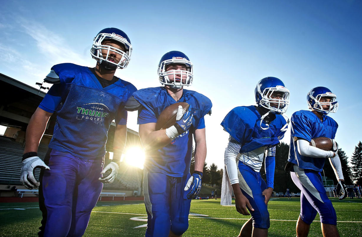 Mountain View running backs, from left, Preston Jones, Austin Mace, Nicolas Wright and Carl Falls have provided the Thunder with a multifaceted rushing attack throughout the season.