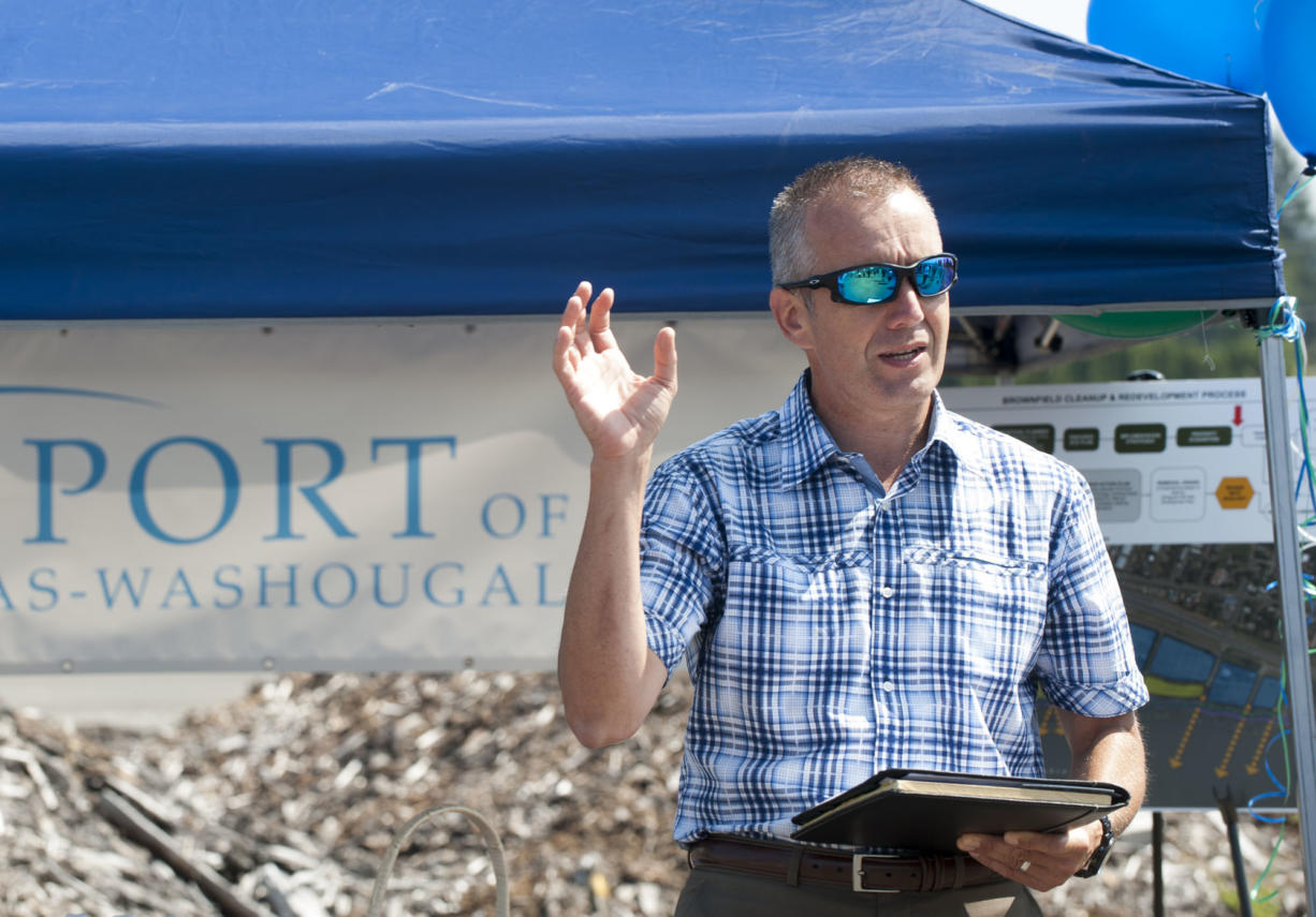 David Ripp, director of the Port of Camas-Washougal speaks at an event in Washougal  on July 8. The event was a groundbreaking for the Washougal Waterfront Park and Trail.