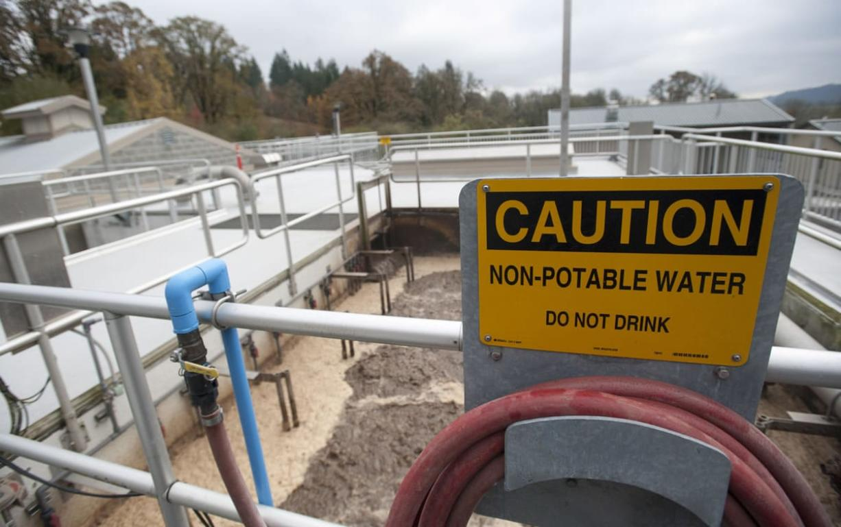 A membrane tank holds wastewater as part of the treatment process at the wastewater treatment plant in La Center. City residents may have missed out on lower sewer rates after a ruling prevented the Cowlitz Indian Tribe from connecting its proposed casino to the city's wastewater treatment system, which was upgraded in 2009.
