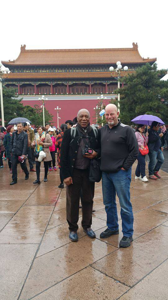 Two jazz drum masters, Billy Cobham, left, and Vancouver native Gary Hobbs, break away from the China Drum Summit in Beijing in October to tour the imperial Forbidden City.