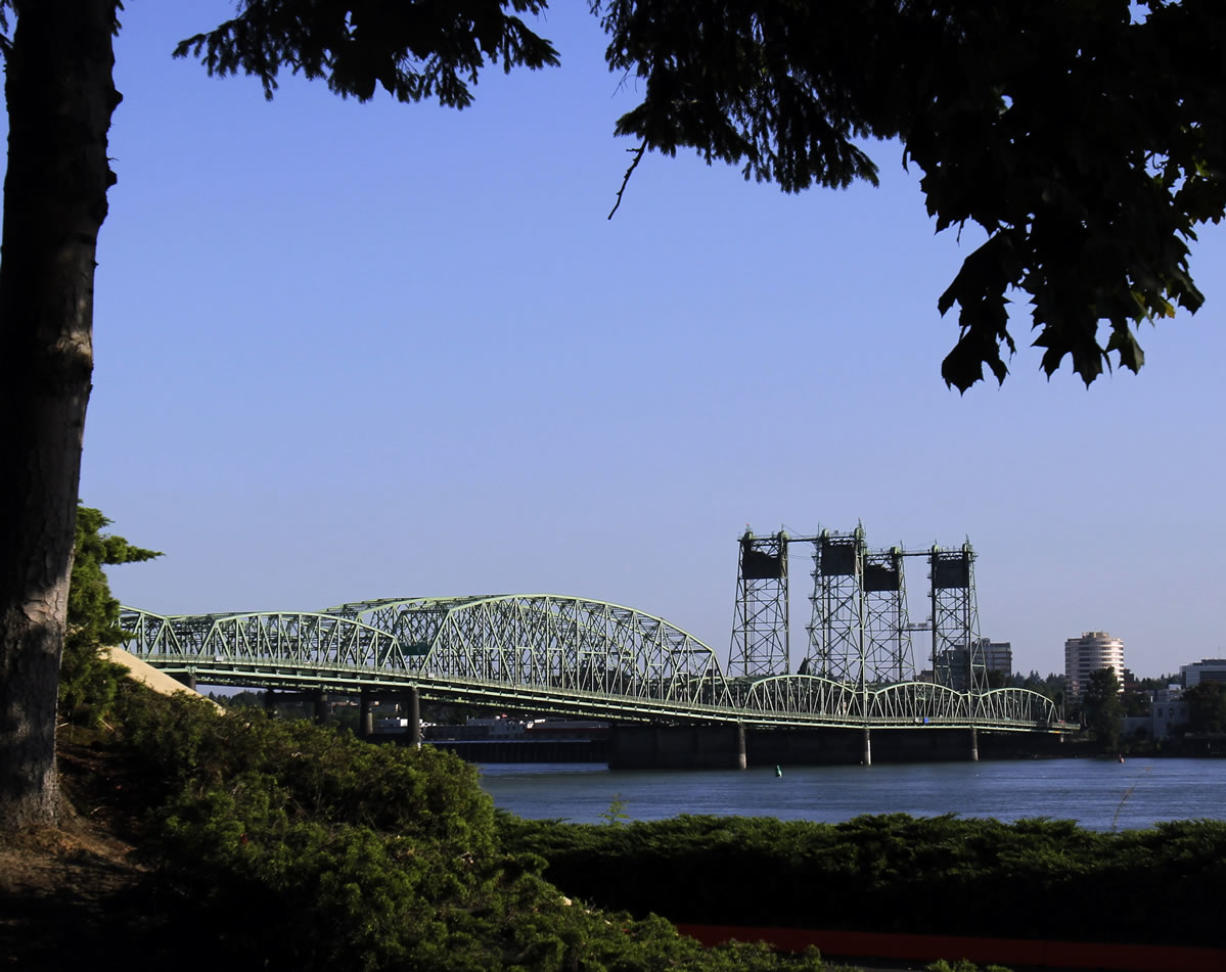 The Interstate 5 bridge spans the Columbia River between Oregon and Washington.