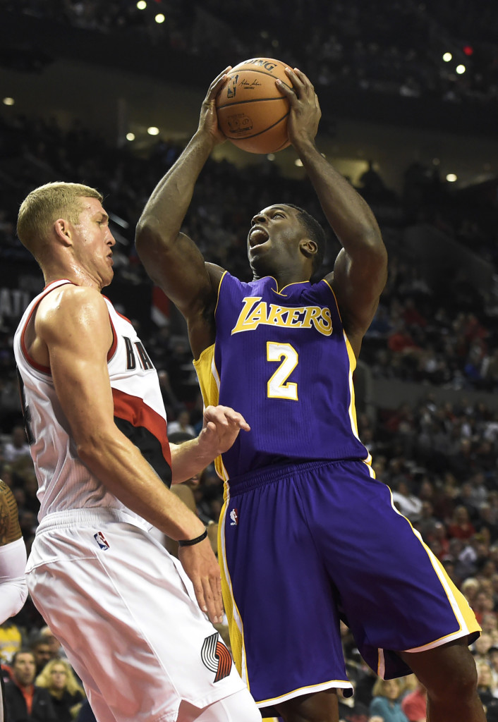 best loved e3ebd fc3fc Los Angeles Lakers forward Brandon Bass (2) drives to the basket against  Portland Trail