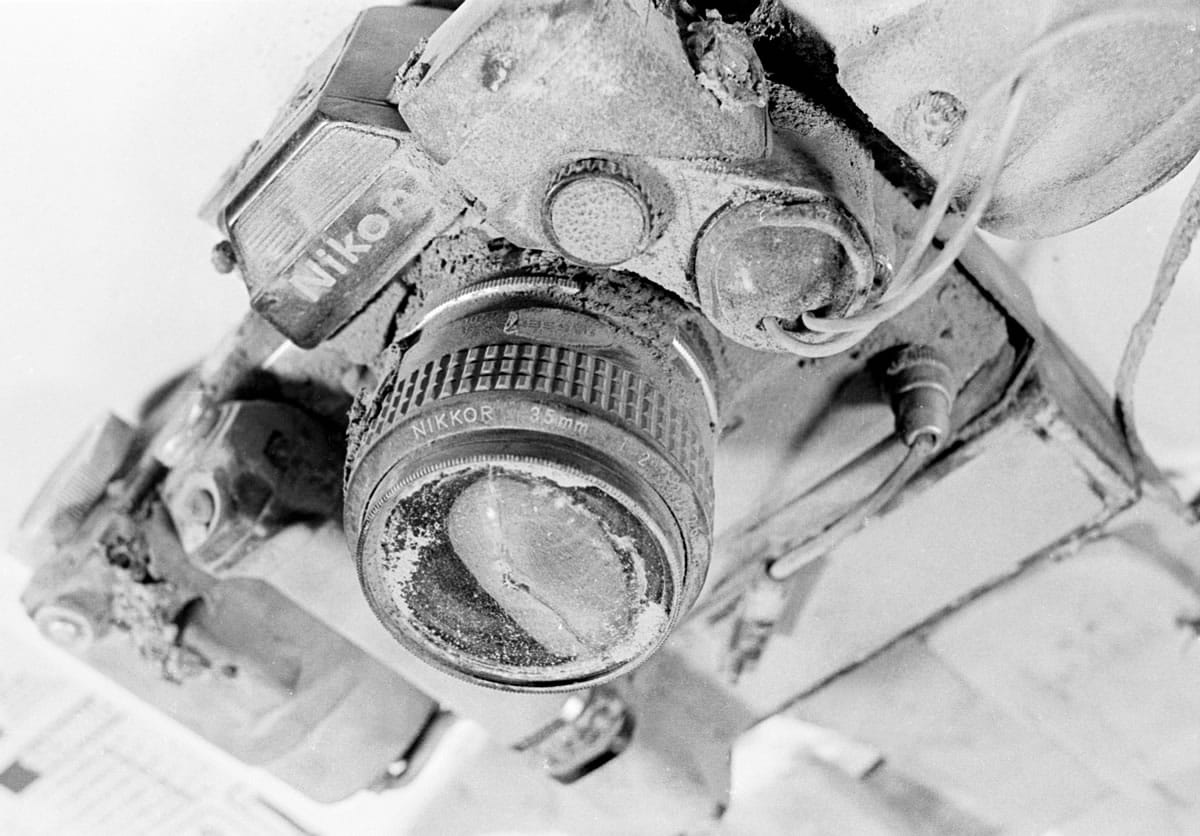 Columbian photographer Reid Blackburn's camera, recovered from the Mount St. Helens blast zone in 1980.
