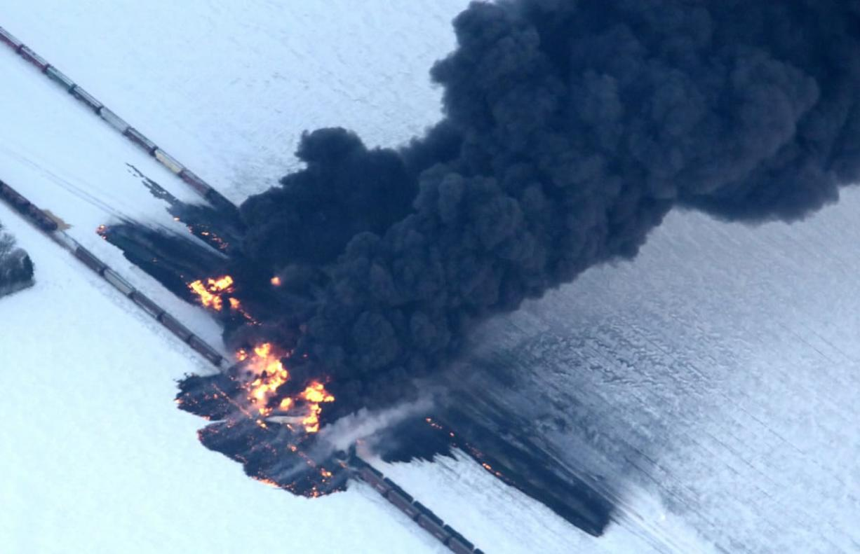 A fire from a train derailment burns uncontrollably as seen in this aerial photograph Monday west of Casselton, N.D. No one has been reported hurt in the derailment or fire.