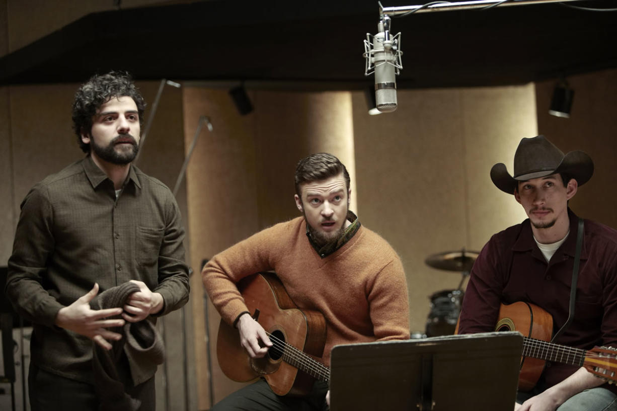 """Oscar Isaac, from left, Justin Timberlake and Adam Driver in """"Inside Llewyn Davis."""""""