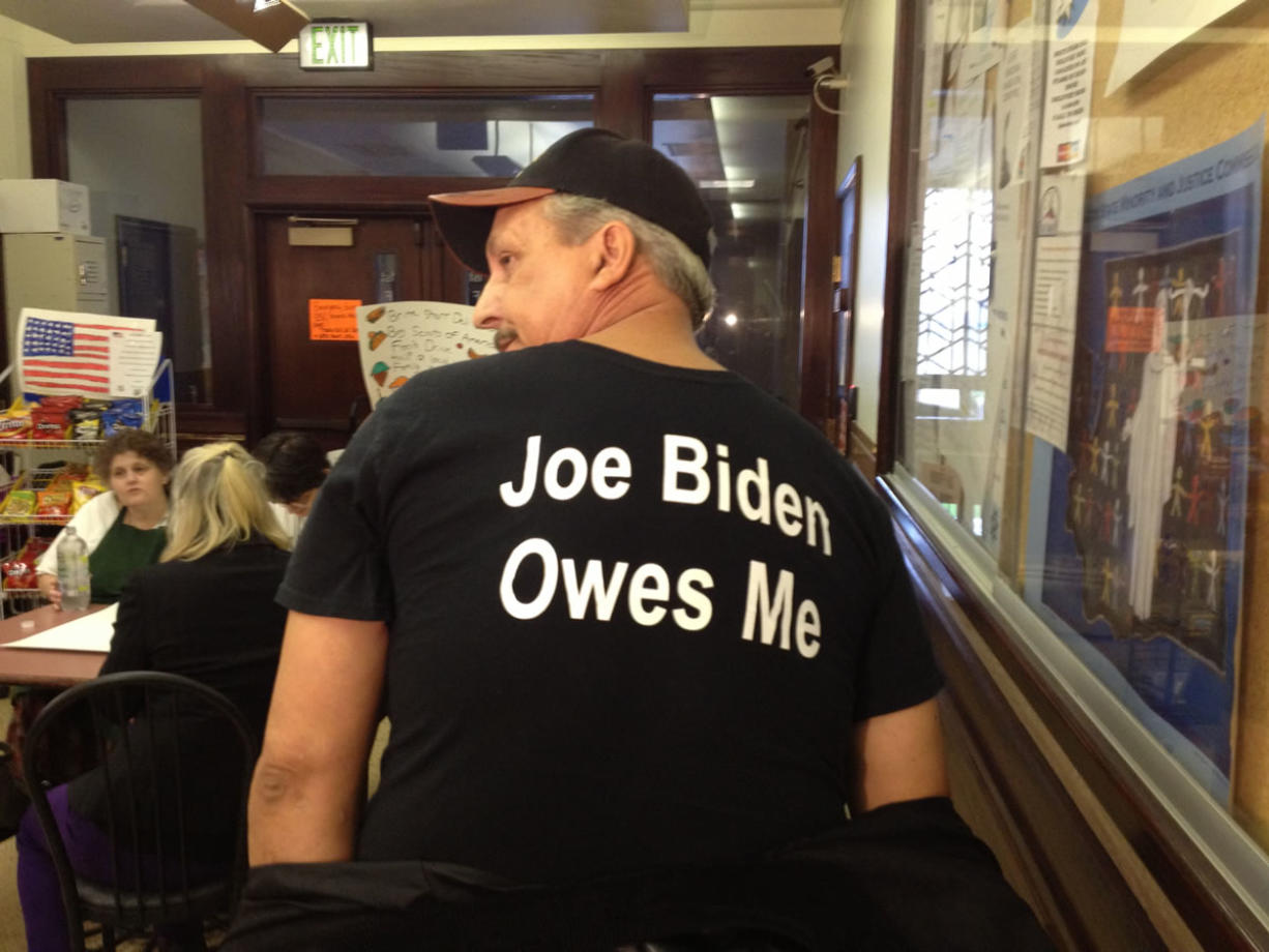 Jeffrey Barton, 52, of Vancouver says that Vice President Joe Biden owes him an apology for advice he gave about fending off intruders with blasts from a gun.