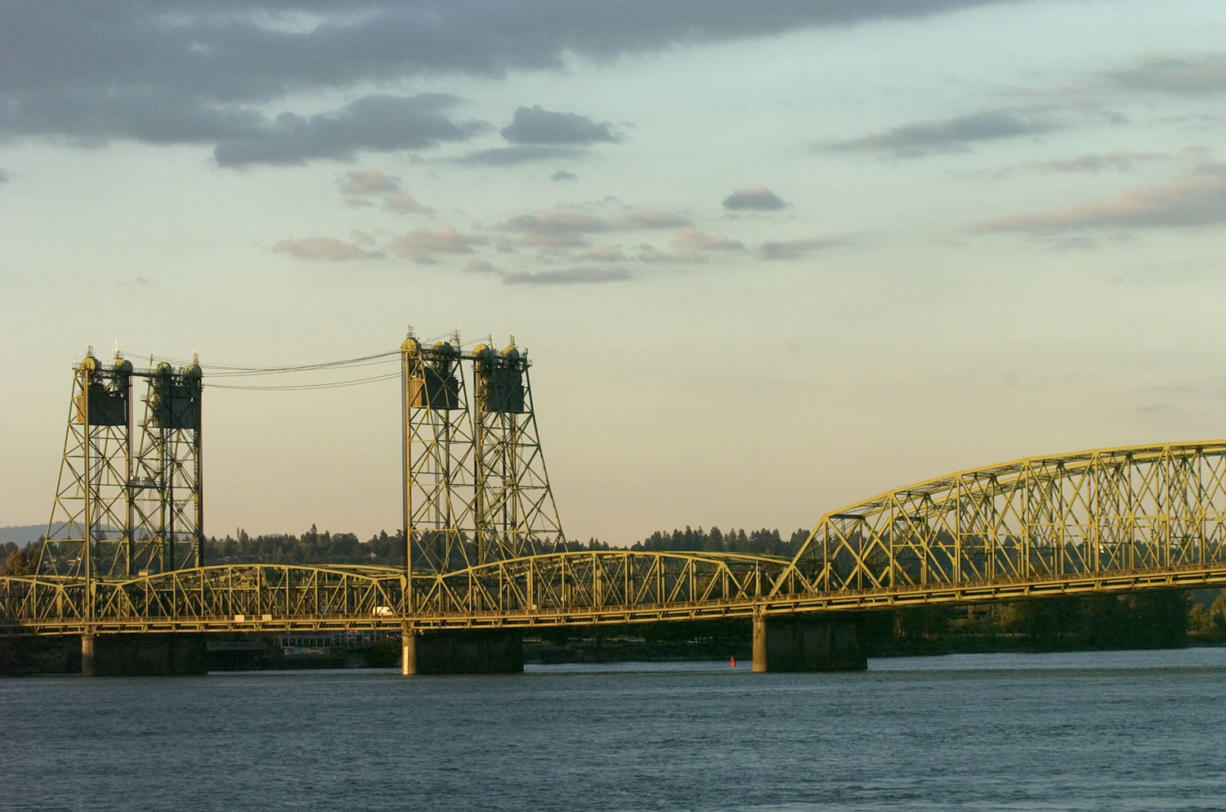 The Interstate 5 Bridge from the Hayden Island mobile home park.