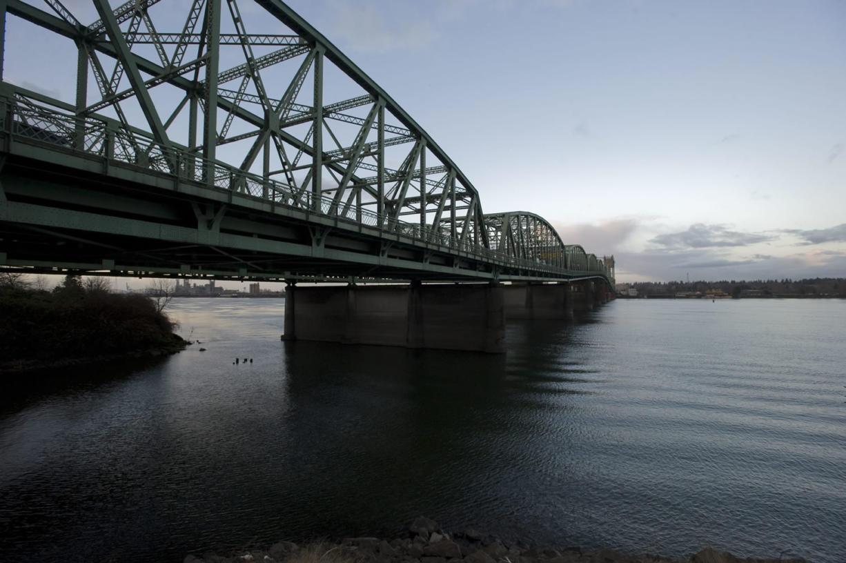 The Interstate 5 bridge from the Oregon side looking northwest toward Washington.