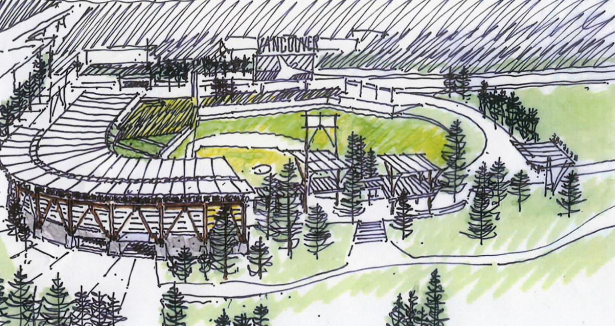 A preliminary sketch of a stadium that was proposed to be built at Clark College.