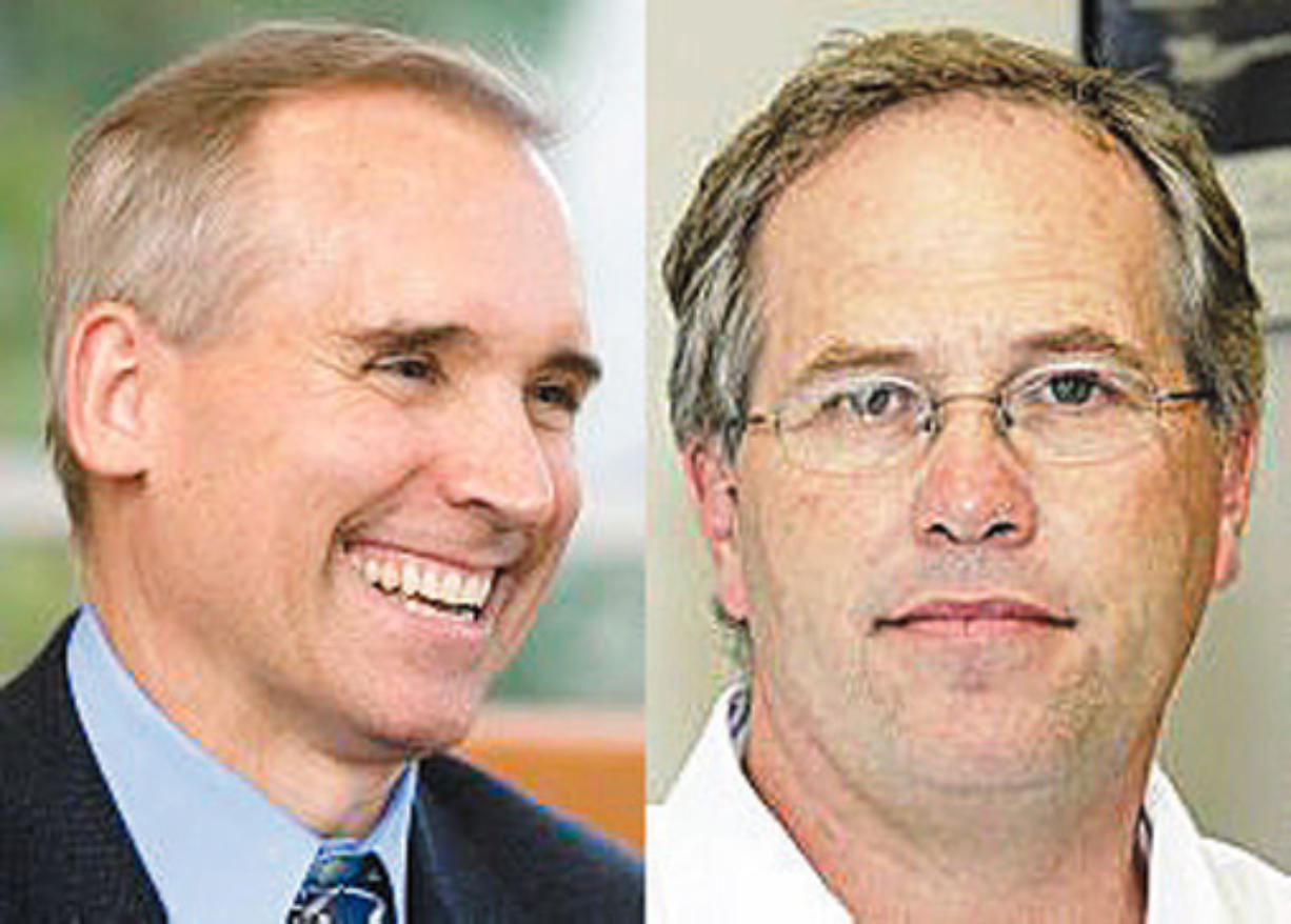 David Madore, left, and Marc Boldt are vying for a spot on the Clark County Board of Commissioners.