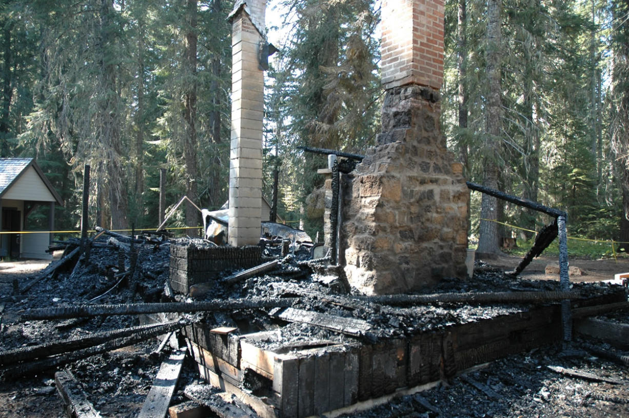 Two chimneys remain standing at the site of the Peterson Prairie Guard Station in the Gifford Pinchot National Forest west of Trout Lake.