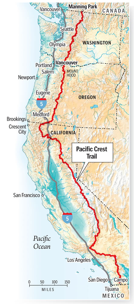 The Pacific Crest Trail stretches more than 2,600 miles from Mexico to Canada.